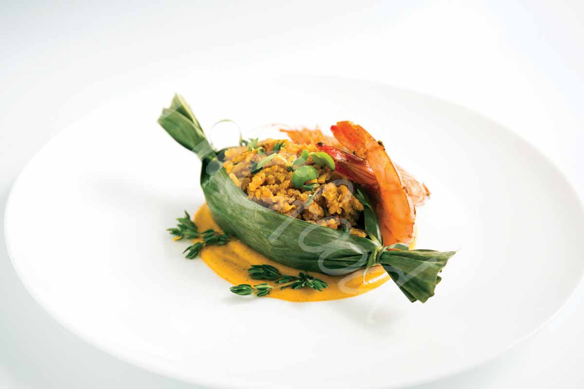 MIC Food Jerk Shrimp with Ripe Plantain Mash