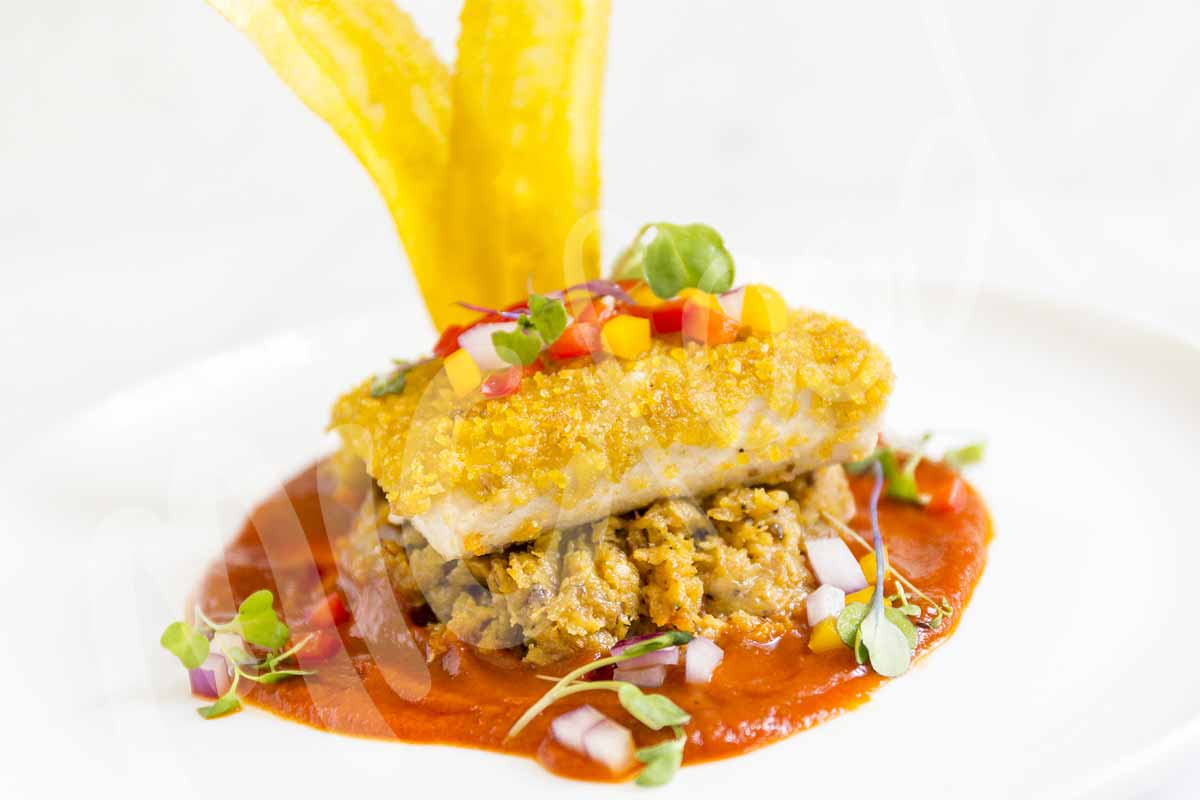Plantain Crusted Mahi Mahi with Ripe Plantain Mash